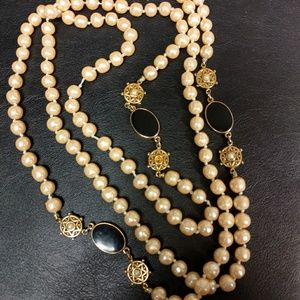 "Vintage 56"" long pearl necklace w black details"